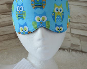 Hoot Owl Eye Mask for Sleep and Travel in colorful Kiwi & Turquoise ~ READY TO SHIP