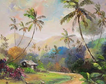 TROPICAL SCENE Original 11x14 Palette Knife Oil Painting Art Shack Hut Chickens Palm Tree Old Tahiti Hawaii Island Coconut Road Tropics