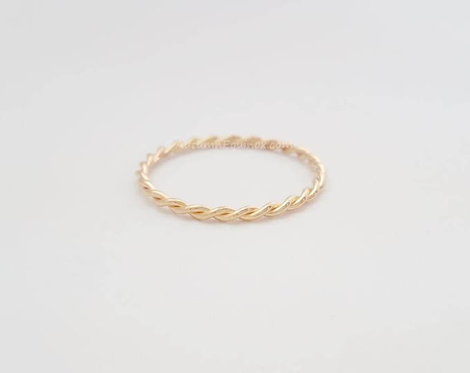 Twist Ring 14k Gold Filled 2mm Band