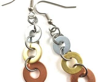 Long Dangle Earrings Mixed Metal Industrial Hardware Jewelry