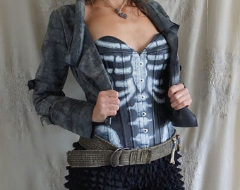 Lunar Skeleton Corset... halloween costume cosplay apocalyptic pirate steampunk gothic crescent moon training corset bustier