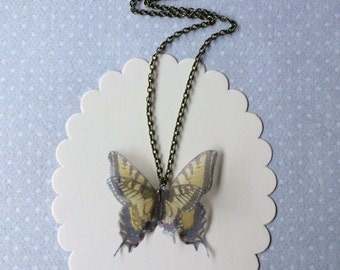 Solitary - Handmade Yellow Swallowtail Silk Organza Butterfly Necklace