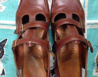 Vintage 1940's 1950's rust red leather platform wedge slingbacks by Penaljo 9 1/2 S Narrow UK 7 8 EU 39 40