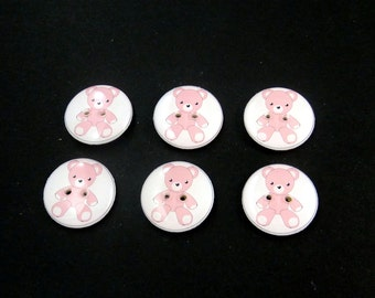 "Pink Teddy Bear Buttons.  Set of 6 handmade buttons. Sewing buttons. 3/4"" or 20 mm.  Washer and Dryer Safe.  Children's Buttons."
