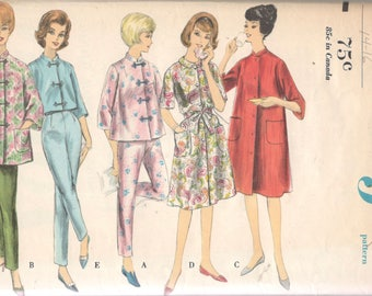 1960s Vogue 5412 Misses Oriental Pajamas and Robe Pattern Housecoat House Dress Womens Vintage Sewing Pattern Size 1Medium Bust 34 36