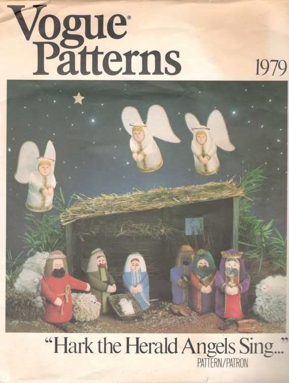 Vogue 1979 Creche Figures Pattern NATIVITY Pattern Hark Herald Angels Sing Christmas  Sewing Pattern  UNCUT
