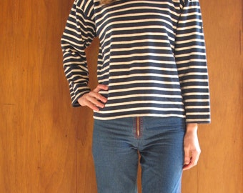 SAINT JAMES navy blue and white striped knit breton shirt