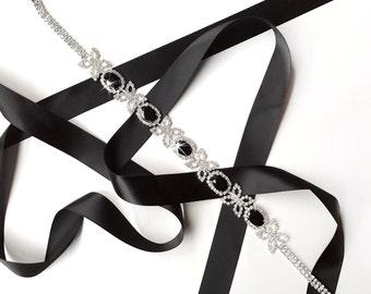 Sash - Black Rhinestone Wedding Dress Sash - Custom Satin Ribbon - Extra Long Crystal Bridesmaid Belt Sash, Bridal Belt Sash
