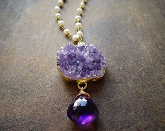 Crystal Druzy necklace,purple amethyst, rock necklace, february birthstone, ooak, pearl necklae, long necklace, gemstone, wire wrapped