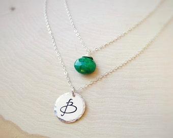 Birthstone & Initial necklace, Personalized Layering necklace set, Emerald necklace, May birthstone, Green emeralds, gemstone necklace set