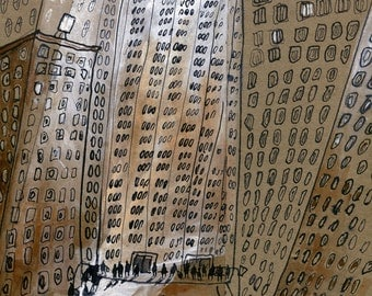 On the New York City Street -Original Art, Painting, Illustration, Manhattan,Street,sepia, brown, monochromatic