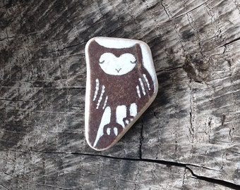 Brown Beach Pottery Owl