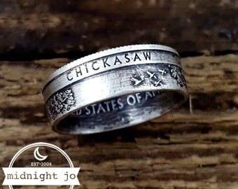 Silver Coin Ring Chickasaw National Park Quarter Coin Ring Oklahoma Coin Ring