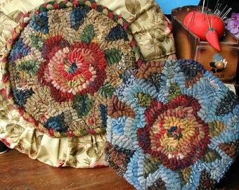 Rose Sewing Case and Pillow PDF instant download pattern set for rug hooking//sewing