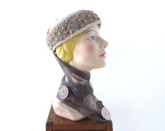 1930s Hat and Purse   Crochet Hat   Drawstring Bag