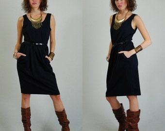Blouson Sleeveless Dress Vintage 80s Little Black Belted Sleeveless Indie Urban Glam Dress (s m)