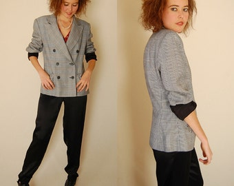 Plaid Structured Blazer Vintage 80s Black + White Houndstooth Plaid Structured Androgynous Blazer Jacket  (m l)
