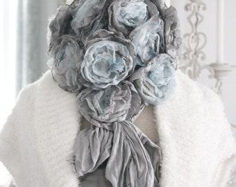 winter sea - cashmere rose bouquet neck adornment