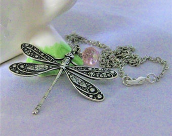 Silver Dragonfly Necklace dragonfly jewelry dragonfly pendant silver dragonfly dragonflies insect jewelry dragon fly nature jewelry vintage
