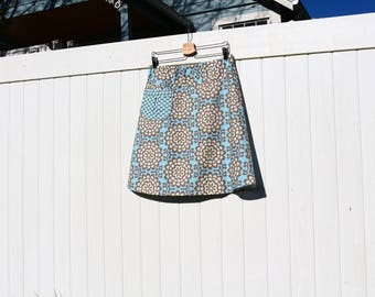 A Line skirt, Blue and Gray Skirt, Skirt with a Pocket, Amy Butler, Custom made in all sizes, and lengths