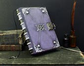 """RESERVED: Leather Journal with Lock and Key, Romantic diary, Silver decoration, """"Purple Dreams"""""""