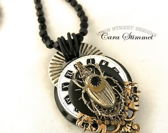 Steampunk Necklace, Steampunk Scarab Pendant on Faceted Strung Jet Beads, Mixed Metal Collage Pendant, Free Shipping USA