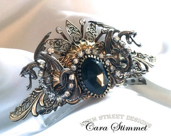 Jeweled Dragon Crown, Steampunk Hair Accessory, Crown of Power, Made in USA