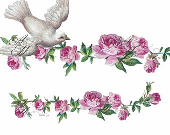Beautiful Vintage Victorian Chic Shabby Pink Roses Border White Dove Waterslide Water Slide Iron On Transfer Miniature Craft Decals bd45