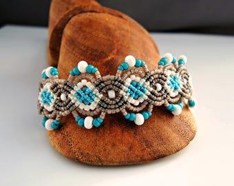Tan White and Aqua Macrame Bracelet  - Micro Macrame Bracelet - Sand and Sea Bracelet - Beach Bracelet - Macrame Jewelry