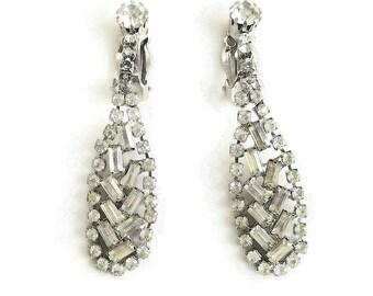 Long Clear Rhinestone Dangle Earrings Vintage Wedding Bridal