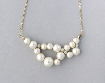 Cotton Pearl necklace  -  Awa - S