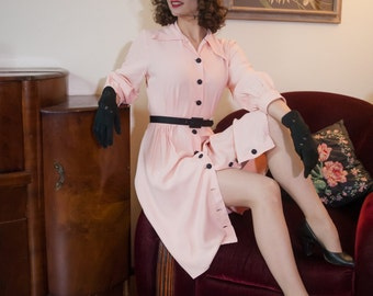 Vintage 1940s Dress - Smart Baby Pink Rayon 40s Day Dress with Shirtwaist Black Buttons