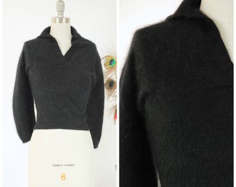 Vintage 1950s Sweater - Quintessential Fuzzy Black Angora Pin Up 50s Sweater Girl Jumper