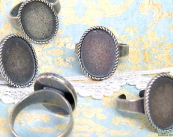 NEW Oval Silver Ring Blank setting for 13x18 mm Cabochon, adjustable band, Sterling Silver plating, oval bezel base in Vintage Boho style
