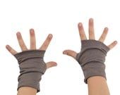 Toddler Arm Warmers in Reverie Pewter - Taupe Grey Brown - Organic Cotton Fingerless Gloves
