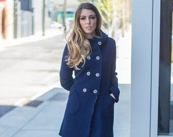Hooded boiled wool women's coat, Navy virgin merino wool coat