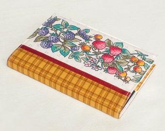 Fabric Journal - Berries - Handmade Fabric Cover A6 Notebook, Diary -  Mustard Checks Red Strawberries Blue Blackberries White Flowers
