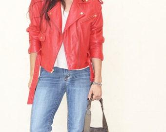 Vintage Leather Motorcycle Jacket WILSONS Women's Red Cropped MOTO Biker Jacket Size S/M