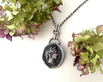 cameo pendant, sterling silver, long necklace, victorian cameo, female silhouette pendant