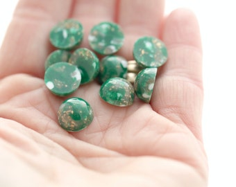 Vintage Green Gold Round Lucite Cabochons 10mm Cabs (10)