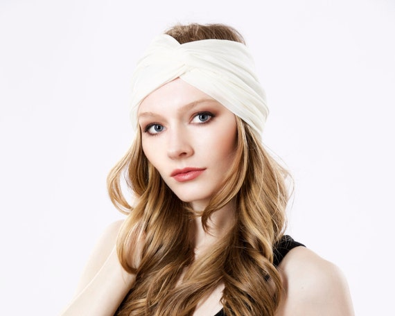 Turban Headband Women's Gift Headwrap Hair Accessory Ivory Headband Boho Chic Spring Accessory 1920s Headband Spring Fashion Great Gatsby
