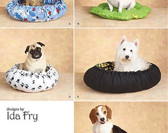 DOG Bed Sewing Pattern - NO SEW Fleece Dog Pet Beds Ida Fry Designs 2 Styles 3 Sizes
