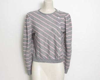 1980s Asymmetrical Shirt / Gray & Pink Striped Button-down Pullover / Vintage 80s New Wave Top