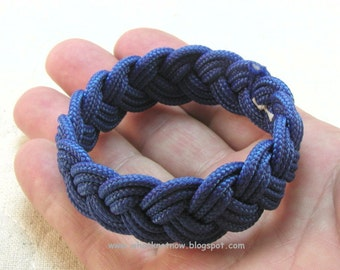 blue paracord rope bracelet knotted rope bracelet turks head knot sailor bracelet three part bracelet rope jewelry 3385