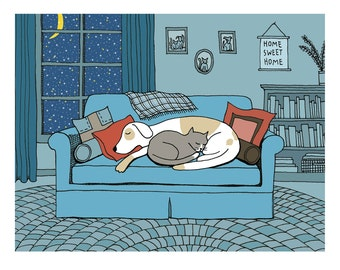 Dog and cat on a winter's eve illustration print