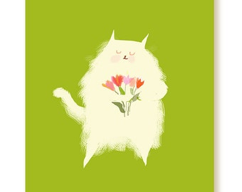 Spring Cat Card - White Fluff with Tulips - Spring Card - Thinking of You