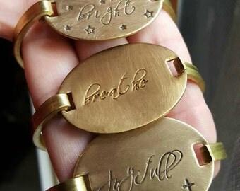 Oval Bracelet, custom brass bracelet