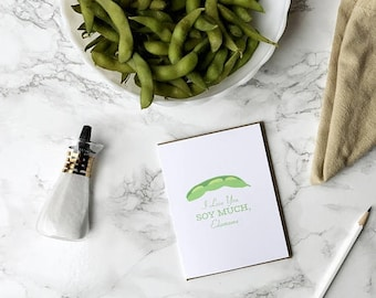 funny mother's day card, i love you soy much edamame mothers day card