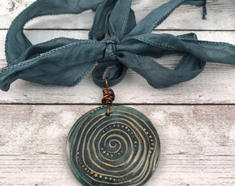 Tidal Pool Handmade Ceramic Pendant - Necklace Option - Textured Clay Blue Green Handmade Pendant