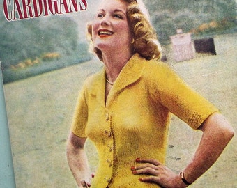 Vintage Knitting Patterns Book 1940s 1950s Ladies' Cardigans Womens Patterns Bestway K128 UK fitted styles 40s 50s original patterns SCARCE